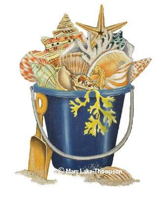 click here to view larger image of Shell Bucket (hand painted canvases)