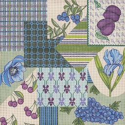 click here to view larger image of Fabric Sample – Blue / Green / Purple (hand painted canvases)