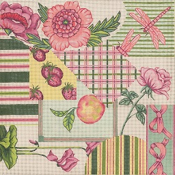 click here to view larger image of Fabric Sample – Pink / Green (hand painted canvases)