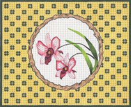 click here to view larger image of Twig Frame – Orchids (hand painted canvases)
