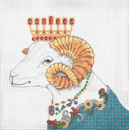 click here to view larger image of Jeweled Ram (hand painted canvases)