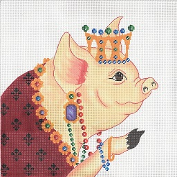 click here to view larger image of Jeweled Pig (hand painted canvases)