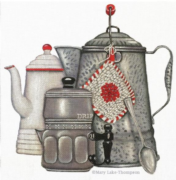 Coffee Pots hand painted canvases