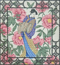 click here to view larger image of Geisha With Peonies Pillow (hand painted canvases)