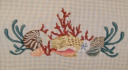 click here to view larger image of Seashell Pillow (hand painted canvases)