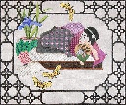 click here to view larger image of Geisha Pillow (hand painted canvases)