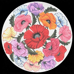 click here to view larger image of Poppies Pillow (hand painted canvases)