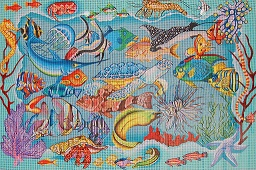 click here to view larger image of Reef Dweller Rug (hand painted canvases)