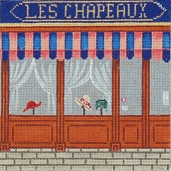 click here to view larger image of French Scenes - Hat Store Front (hand painted canvases)