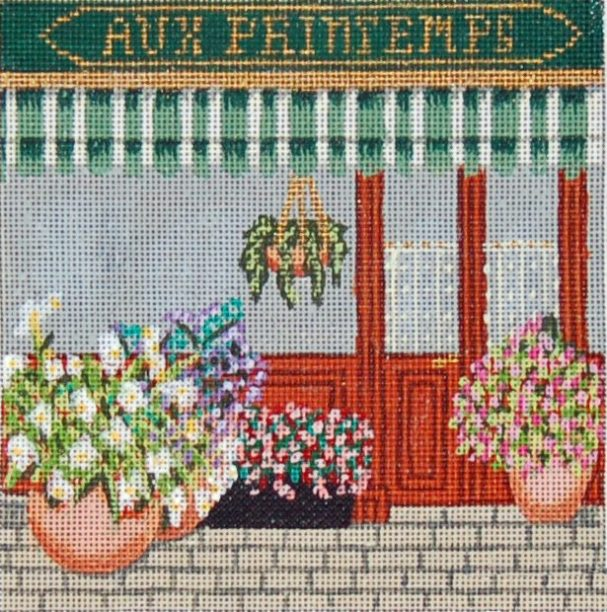click here to view larger image of French Scenes - Flower Shop (hand painted canvases)