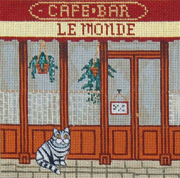 click here to view larger image of French Scenes - Cafe Store Front (hand painted canvases)