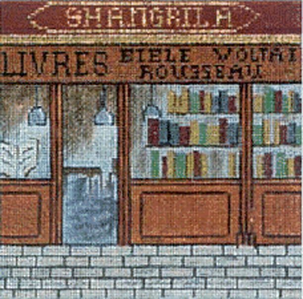 click here to view larger image of French Scenes - Bookstore (hand painted canvases)