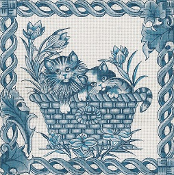 click here to view larger image of Toile - Blue Kittens (hand painted canvases)