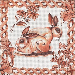 click here to view larger image of Toile - Brown Bunnies (hand painted canvases)
