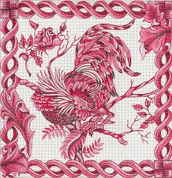 click here to view larger image of Toile - Red Rooster (hand painted canvases)
