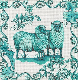 click here to view larger image of Toile - Green Sheep (hand painted canvases)