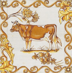 click here to view larger image of Toile - Golden Cow (hand painted canvases)