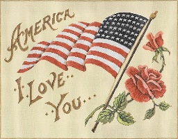 click here to view larger image of America I Love You (hand painted canvases)