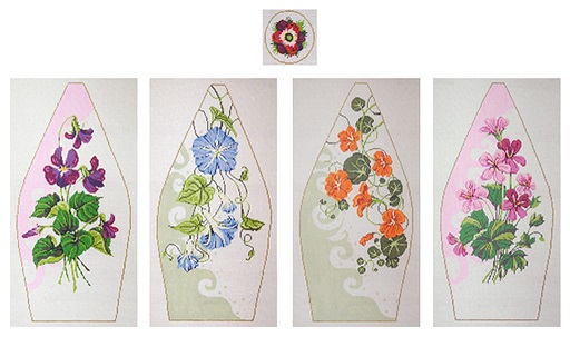click here to view larger image of Floral Tuffet (hand painted canvases)