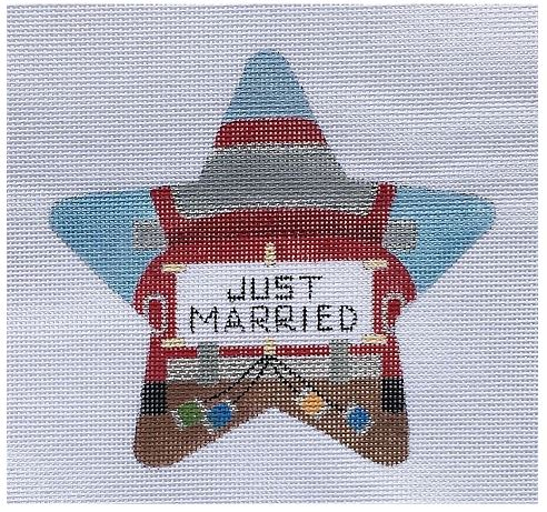 click here to view larger image of Just Married Star (hand painted canvases)