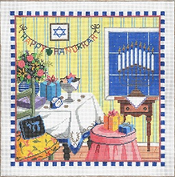 click here to view larger image of Happy Hanukkah (hand painted canvases)