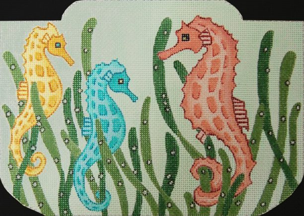 click here to view larger image of Seahorse Purse (hand painted canvases)