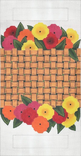 click here to view larger image of Woven Basket Flowers Purse (hand painted canvases)