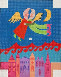 click here to view larger image of Wall Clock - Moon People Over City (hand painted canvases)