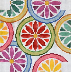 click here to view larger image of Wall Clock - Floral Circles (hand painted canvases)