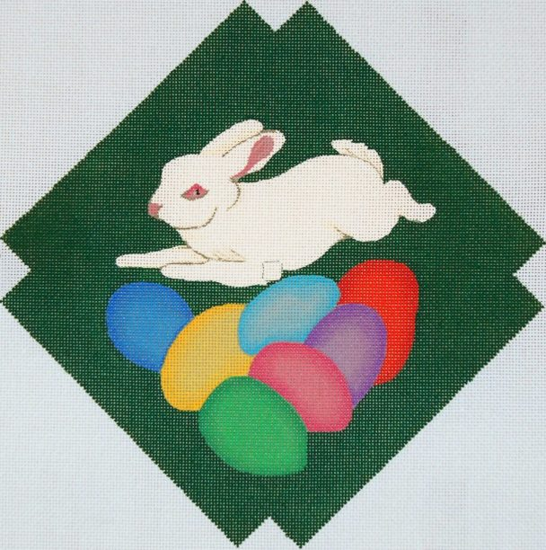 click here to view larger image of Wall Clock - Easter Bunny And Eggs (hand painted canvases)