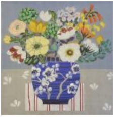 click here to view larger image of Blue Vase Bouquet (hand painted canvases)