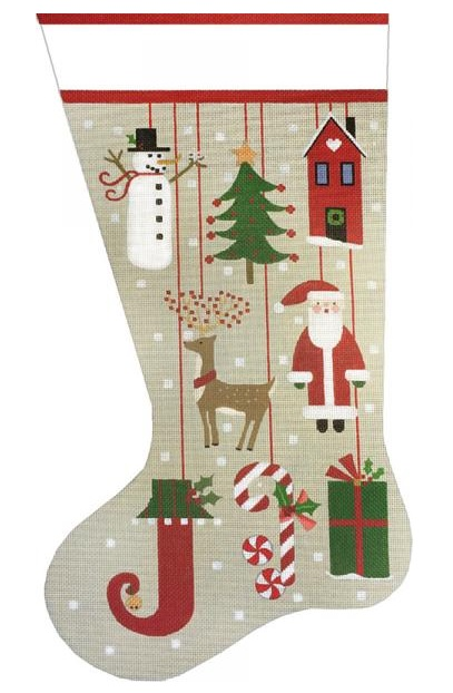 click here to view larger image of Primitive Ornament Sock (hand painted canvases)