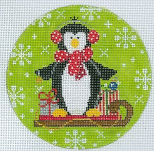 click here to view larger image of Frosty Penguin on Sled (hand painted canvases)