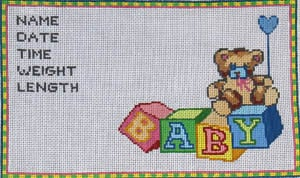 click here to view larger image of Baby Block Sampler - 18 Count (hand painted canvases)