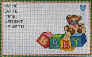 click here to view larger image of Baby Block Sampler - 13 Count (hand painted canvases)
