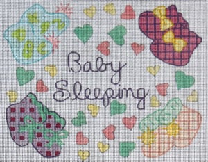 click here to view larger image of Baby Sleeping - Baby Booties (hand painted canvases)