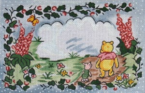 "click here to view larger image of ""Winnie the Pooh and Piglet"" - Birth Announcement (hand painted canvases)"