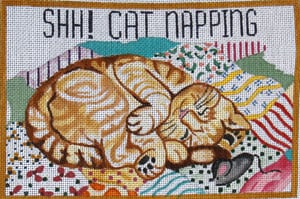 "click here to view larger image of Cat Napping - ""Shh! Cat Napping"" (hand painted canvases)"