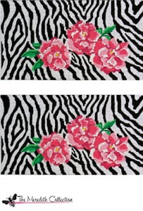 click here to view larger image of Zebra with Pink Peonies (hand painted canvases)