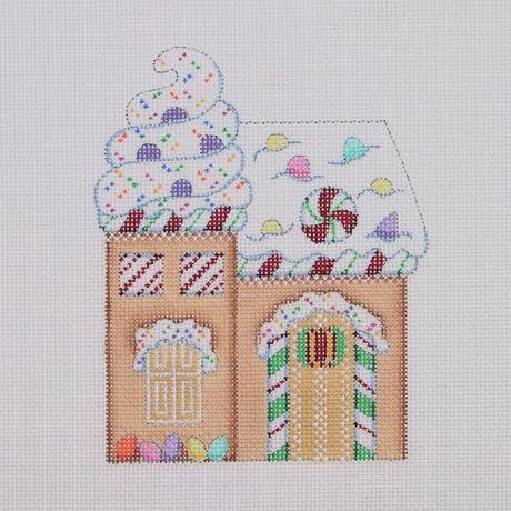 click here to view larger image of Gingerbread House - Sprinkles and Candy Canes (hand painted canvases)