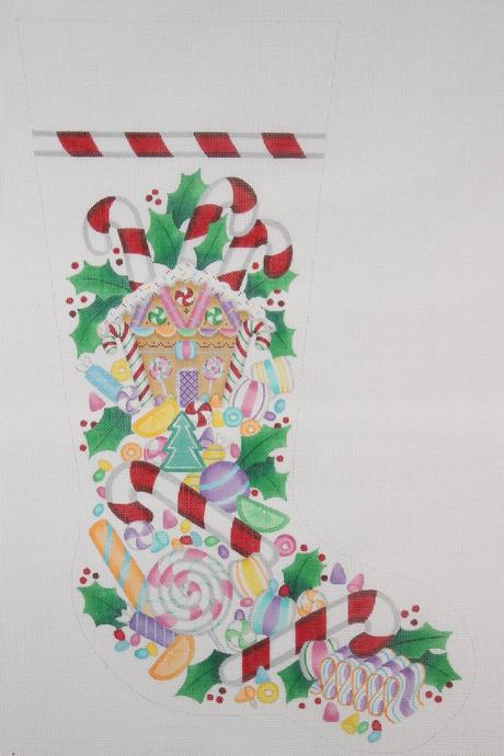 click here to view larger image of Christmas Stocking - Christmas Candy (hand painted canvases)