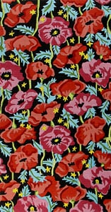 click here to view larger image of Orange and Pink Poppies - Black Background (hand painted canvases)
