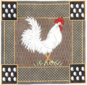 click here to view larger image of Rooster - White (hand painted canvases)