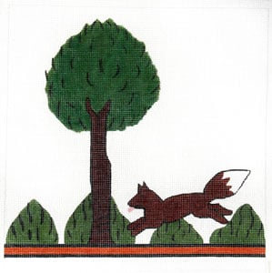 click here to view larger image of Hunt Pillow - Tree and Fox (hand painted canvases)