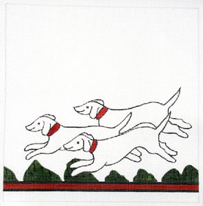 click here to view larger image of Hunt Pillow - Hounds (hand painted canvases)