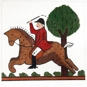 click here to view larger image of Hunt Pillow - Horse and Tree (hand painted canvases)