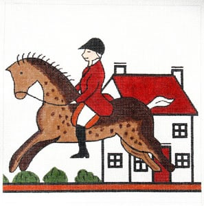 click here to view larger image of Hunt Pillow - Horse and House (hand painted canvases)