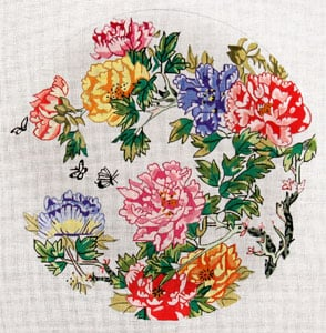 click here to view larger image of Round Peonies (hand painted canvases)