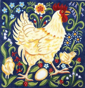 Buff Rooster with Chicks - Wildflowers and Leaves hand painted canvases