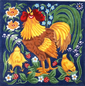 Red Rooster with Chicks - Wildflowers and Leaves hand painted canvases